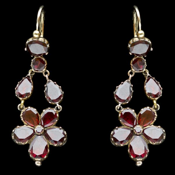 Georgian garnet foliate earrings closed back 18ct gold settings