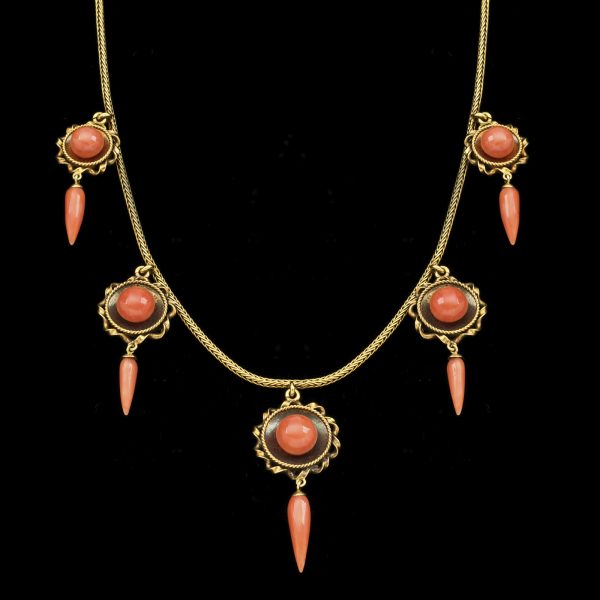 Early Victorian gold necklace with five coral pendants