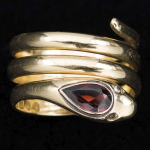 18ct gold coiled serpent ring