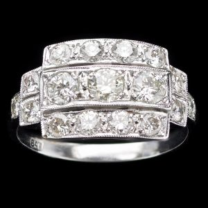 Art Deco 18ct white gold ring set with three rows of diamonds