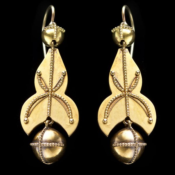 Victorian 18ct gold long earrings decorated with granulation and terminating with ball pendants