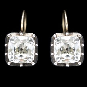 georgian paste earrings in closed back silver settings