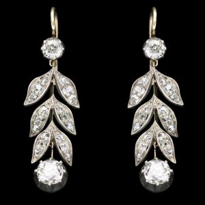 Edwardian diamond drop earrings with a laurel leaf design