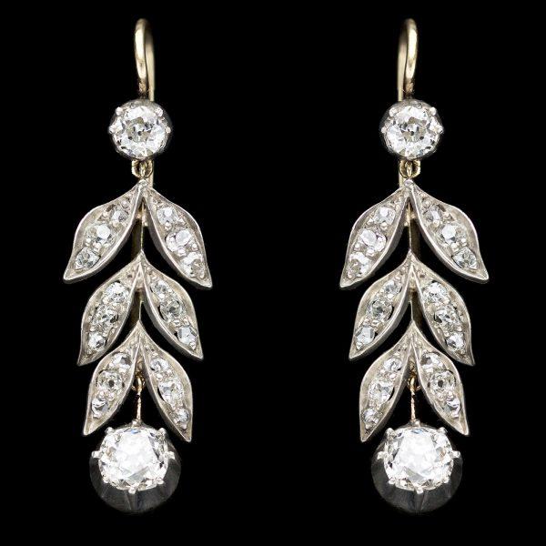 Edwardian diamond drop earrings with a laurel leaf design