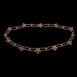 Georgian garnet flower design head necklace