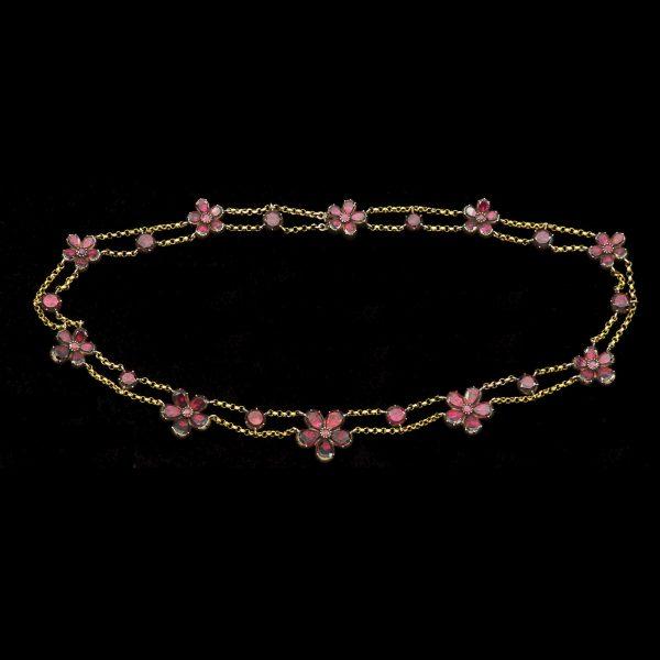 Georgian garnet flower design head necklace