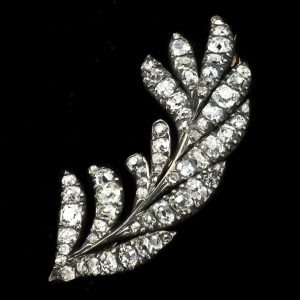 Georgian diamond set leaf brooch, gold and silver settings c.1810