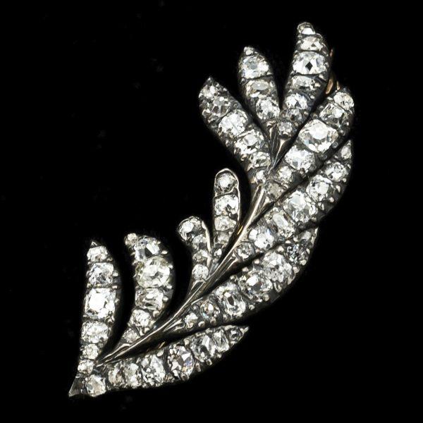 Georgian diamond set leaf brooch, gold and silver settings c.1810