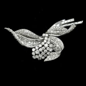 1950's platinum diamond floral spray brooch, white gold -5.77ct