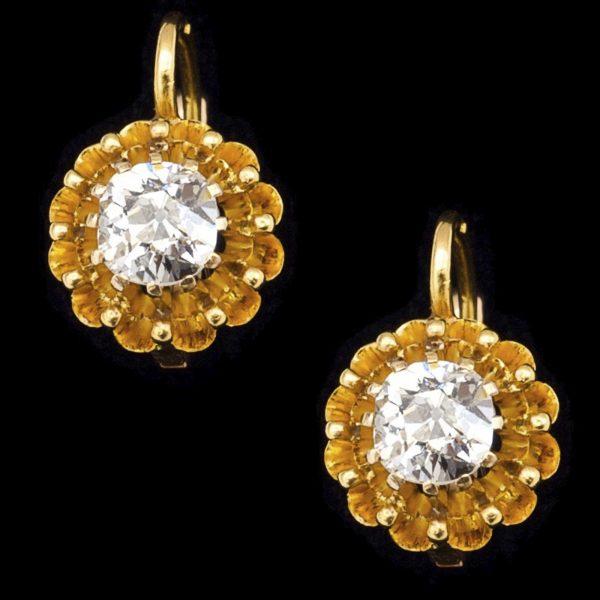Victorian single stone diamond earrings total 1ct