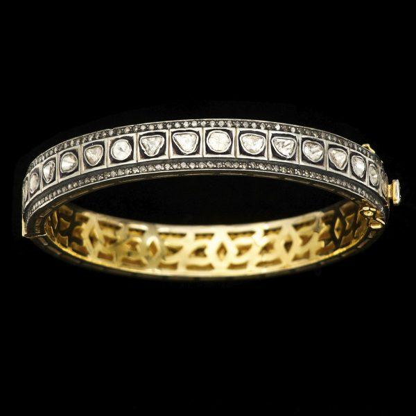 Indian hinged bangle set with flat cut diamonds