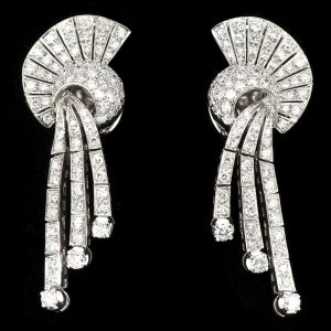 Art Deco platinum and diamond fan shaped clip earrings