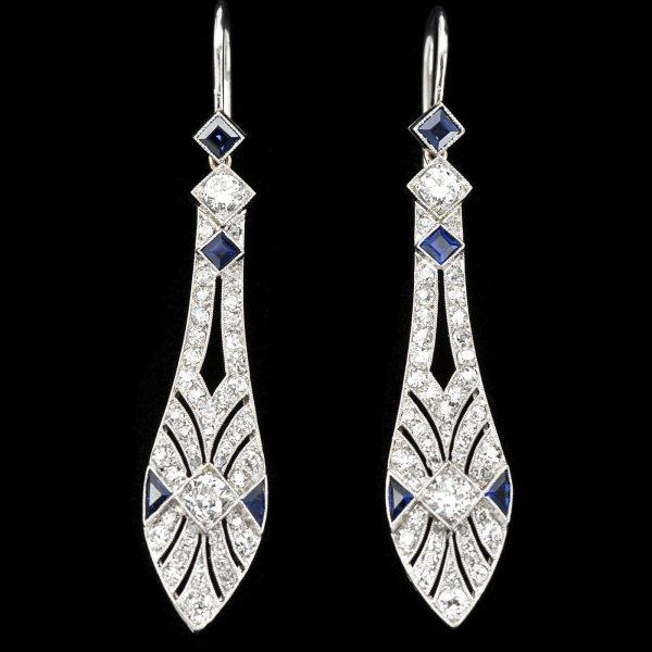Art Deco platinum diamond and sapphire ear pendants. English c.1930