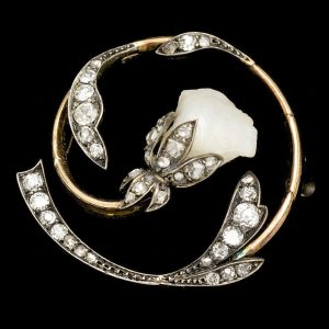 Art Nouveau diamond & pearl lily brooch
