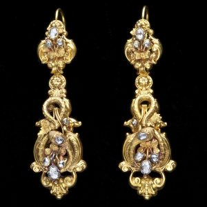 Splendid mid Victorian 18ct gold ear pendants, with a rococo design featuring serpents, and set with rose diamonds. The pendant section is detachable