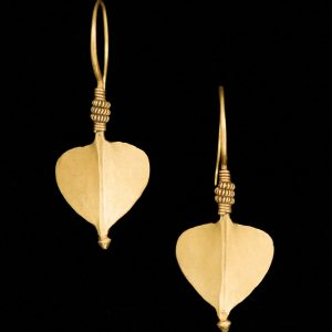 Indian 22ct gold leaf shaped earrings