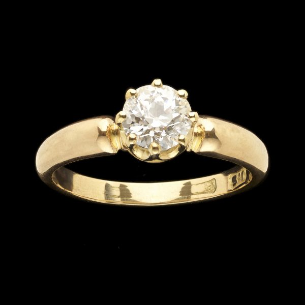 Solitaire diamond ring, the diamond 0.75ct G in a simple 18ct gold mount