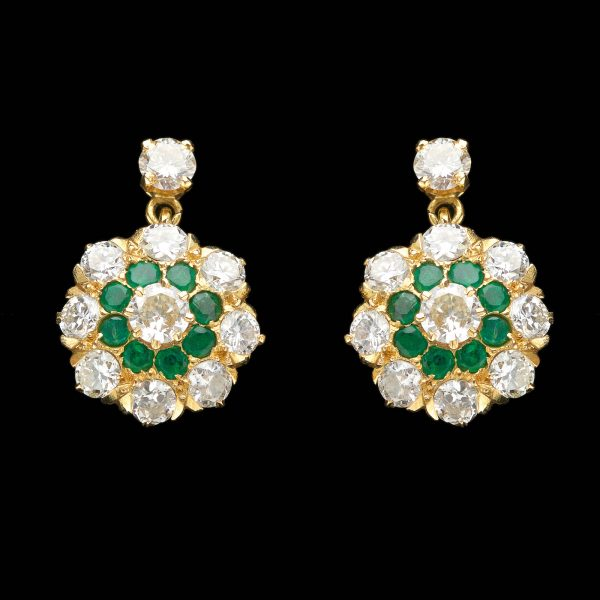 Diamond and emerald floral cluster earrings, 18ct gold settings