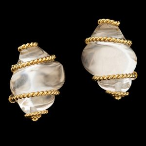 Rock crystal clip earrings in the form of shells, 18ct gold rope design mounts, marked Seaman Schepps