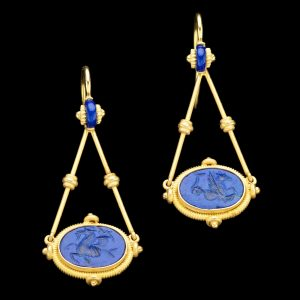 Gold mounted lapis earrings