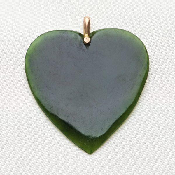 New Zealand greenstone, heart shaped pendant