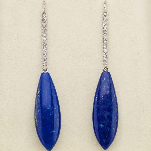 Lapis lazuli and diamond earrings