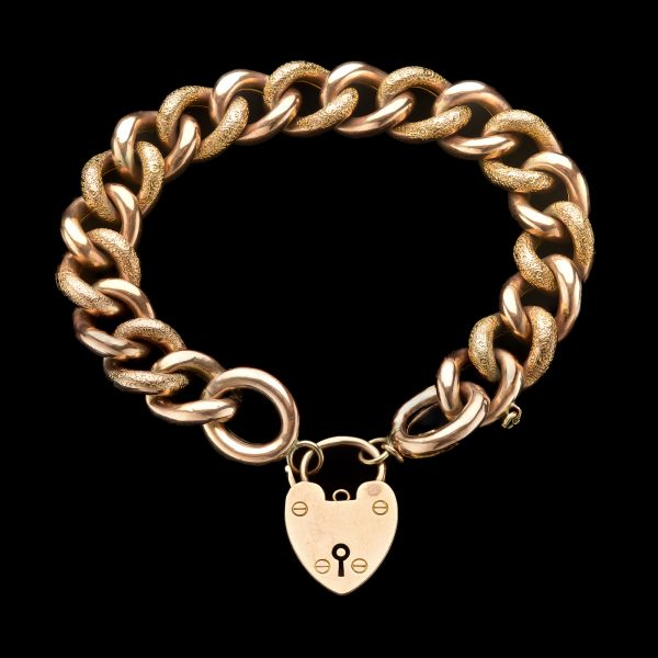 Victorian rose gold, curb chain bracelet