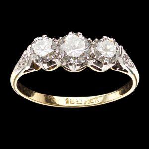 Antique three stone diamond ring