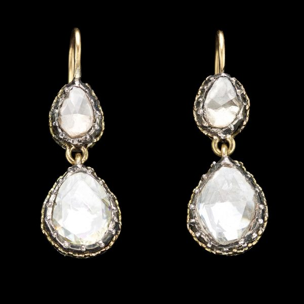 Extremely rare early 19th Century diamond earrings
